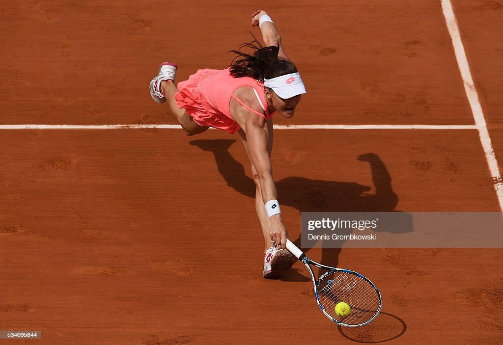 <a gi-track='captionPersonalityLinkClicked' href=/galleries/search?phrase=Agnieszka+Radwanska&family=editorial&specificpeople=579516 ng-click='$event.stopPropagation()'>Agnieszka Radwanska</a> of Poland hits a backhand during the Ladies Singles third round match against Barbora Strycova of Czech Republic on day six of the 2016 French Open at Roland Garros on May 27, 2016 in Paris, France.