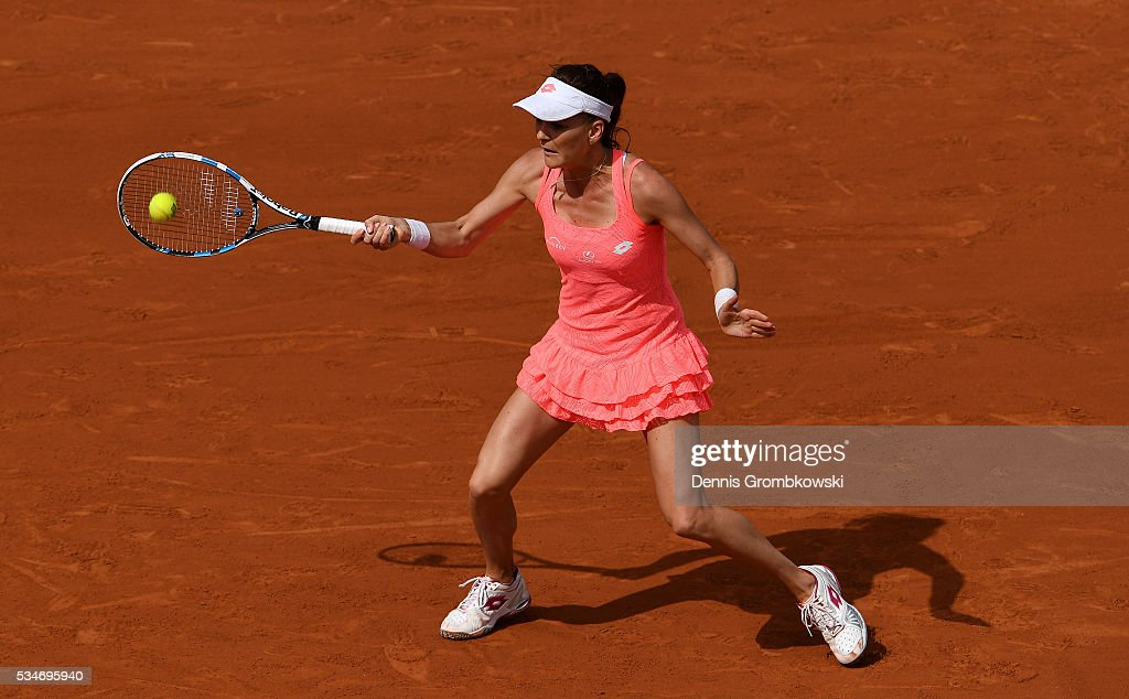 <a gi-track='captionPersonalityLinkClicked' href=/galleries/search?phrase=Agnieszka+Radwanska&family=editorial&specificpeople=579516 ng-click='$event.stopPropagation()'>Agnieszka Radwanska</a> of Poland hits a forehand during the Ladies Singles third round match against Barbora Strycova of Czech Republic on day six of the 2016 French Open at Roland Garros on May 27, 2016 in Paris, France.