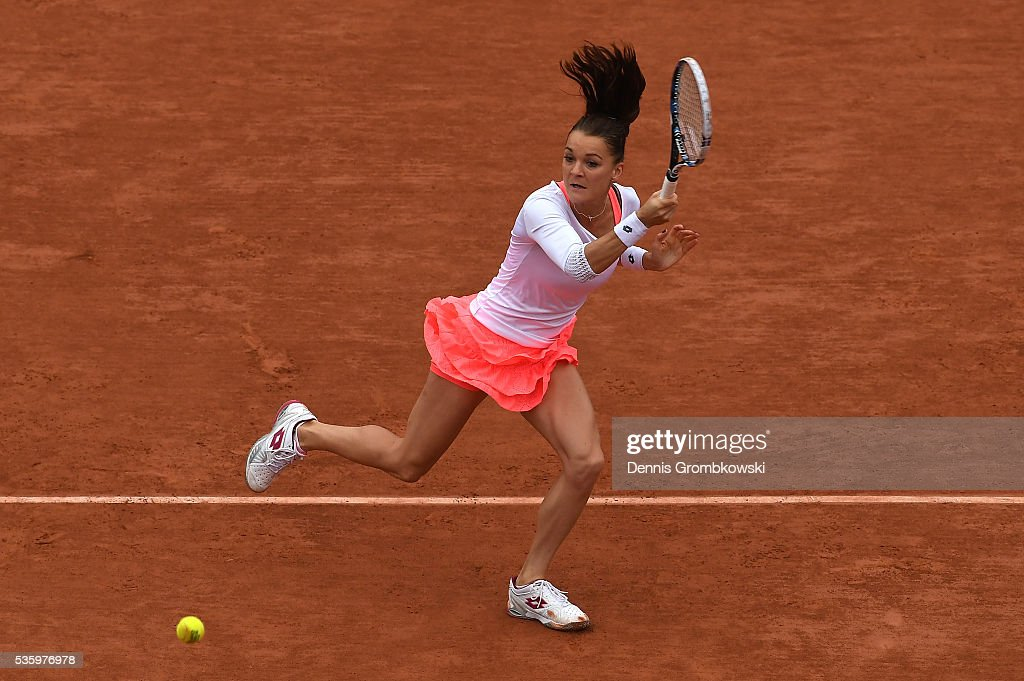 <a gi-track='captionPersonalityLinkClicked' href=/galleries/search?phrase=Agnieszka+Radwanska&family=editorial&specificpeople=579516 ng-click='$event.stopPropagation()'>Agnieszka Radwanska</a> of Poland hits a forehand during the Ladies Singles fourth round match against Tsvetana Pironkova of Bulgaria on day ten of the 2016 French Open at Roland Garros on May 31, 2016 in Paris, France.