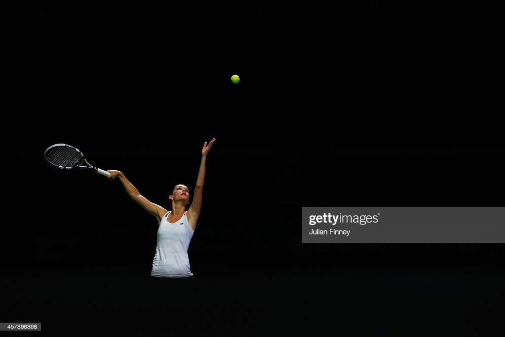 Agnieszka Radwanska of Poland in a practice session during previews for the WTA Finals at Singapore Sports Hub on October 17, 2014 in Singapore.