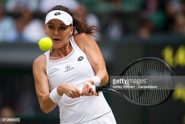 Agnieszka Radwanska of Poland in action during her victory over Timea Bacsinszky of Switzerland in their Ladies' Singles Third Round Match at...