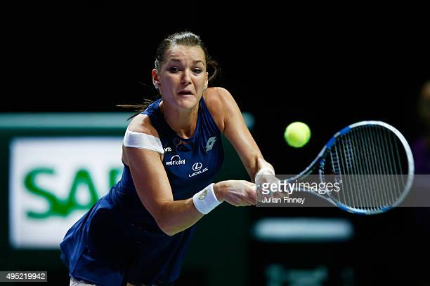Agnieszka Radwanska of Poland in action during the final match against Petra Kvitova of Czech Republic during the BNP Paribas WTA Finals at Singapore...