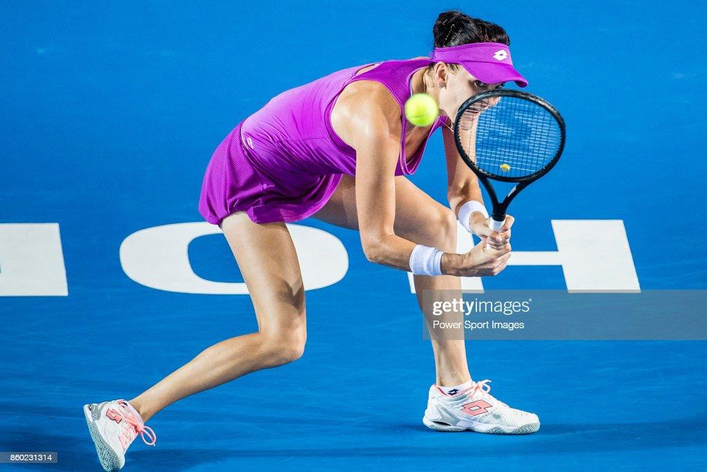 Agnieszka Radwanska of Poland in action during the Prudential Hong Kong Tennis Open 2017 match between Agnieszka Radwanska of Poland and Samantha Stosur of Australia at Victoria Park on October 11, 2017 in Hong Kong, Hong Kong.