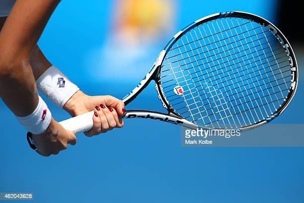 Agnieszka Radwanska of Poland in action in her third round match against Varvara Lepchenko of the United States during day six of the 2015 Australian...