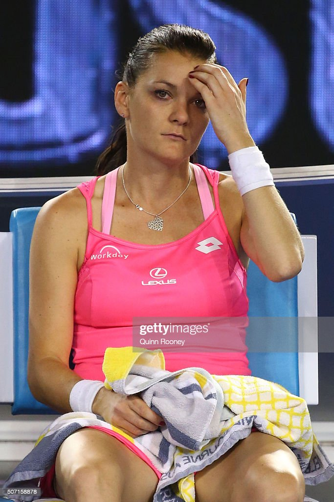 <a gi-track='captionPersonalityLinkClicked' href=/galleries/search?phrase=Agnieszka+Radwanska&family=editorial&specificpeople=579516 ng-click='$event.stopPropagation()'>Agnieszka Radwanska</a> of Poland looks on in her semi final match against Serena Williams of the United States during day 11 of the 2016 Australian Open at Melbourne Park on January 28, 2016 in Melbourne, Australia.