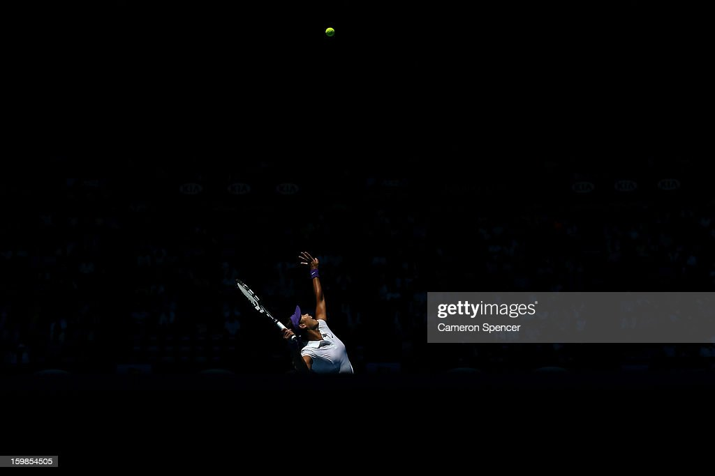 Agnieszka Radwanska of Poland plays a backhand in her Quarterfinal match against Na Li of China during day nine of the 2013 Australian Open at Melbourne Park on January 22, 2013 in Melbourne, Australia.