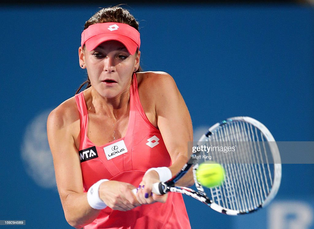 Agnieszka Radwanska of Poland plays a backhand in the women's final match against Dominika Cibulkova of Slovakia during day six of the Sydney International at Sydney Olympic Park Tennis Centre on January 11, 2013 in Sydney, Australia.