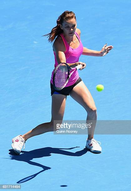 Agnieszka Radwanska of Poland plays a forehand during a practice session ahead of the 2017 Australian Open at Melbourne Park on January 15 2017 in...