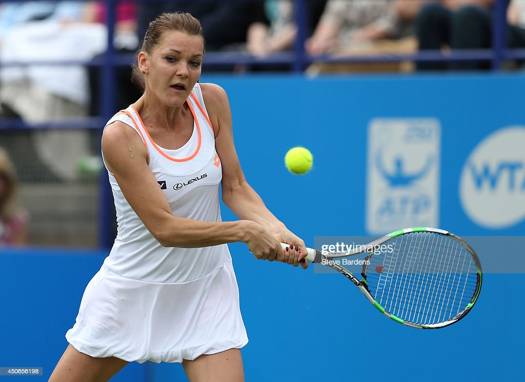<a gi-track='captionPersonalityLinkClicked' href=/galleries/search?phrase=Agnieszka+Radwanska&family=editorial&specificpeople=579516 ng-click='$event.stopPropagation()'>Agnieszka Radwanska</a> of Poland plays a forehand during the Rally for Bally mixed doubles charity match on day two of the Aegon International at Devonshire Park on June 15, 2014 in Eastbourne, England.