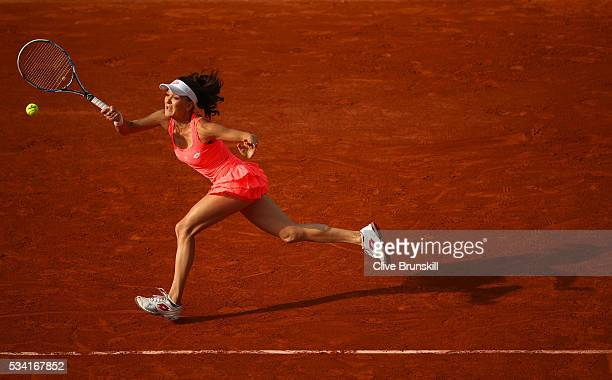 Agnieszka Radwanska of Poland plays a forehand during the Women's Singles second round match against Caroline Garcia of France on day four of the...