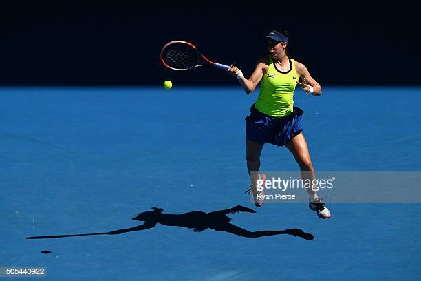 Agnieszka Radwanska of Poland plays a forehand in her first round match against Agnieszka Radwanska of the United States during day one of the 2016...