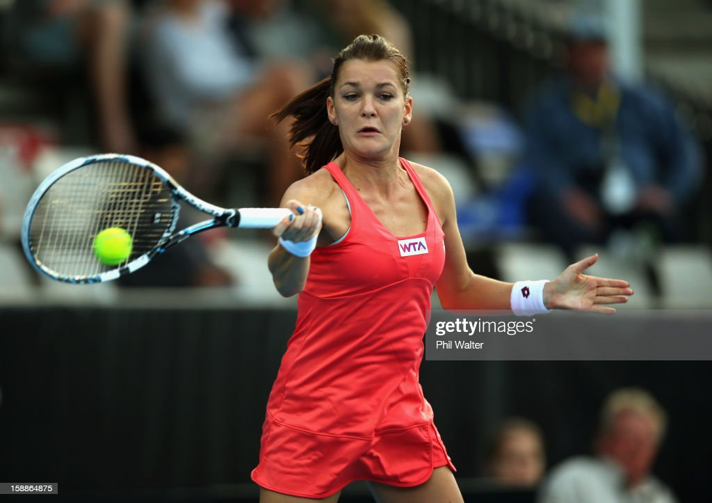 Agnieszka Radwanska of Poland plays a forehand in her second round match against Simona Halep of Romania during day three of the 2013 ASB Classic on January 2, 2013 in Auckland, New Zealand.