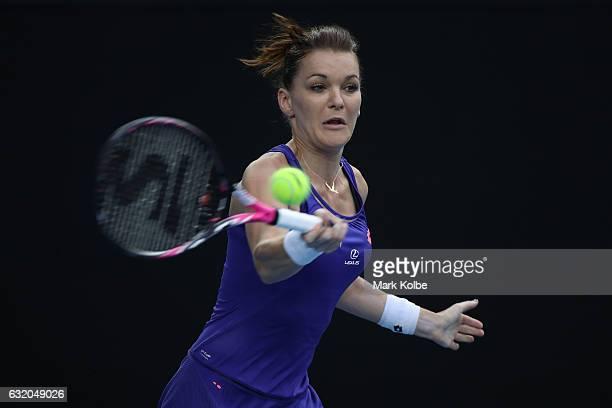Agnieszka Radwanska of Poland plays a forehand in her second round match against Mirjana LucicBaroni of Croatia on day four of the 2017 Australian...