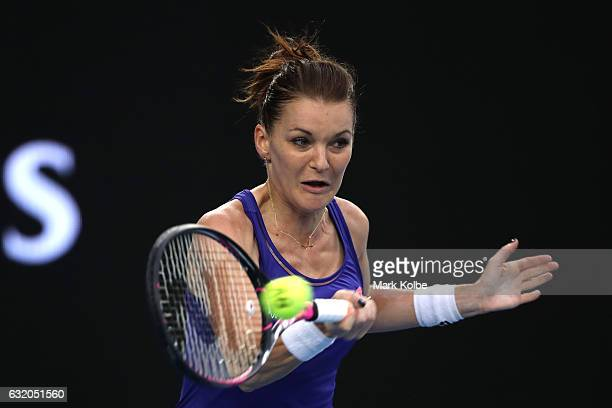 Agnieszka Radwanska of Poland plays a forehand in her second round match against Mirjana LucicBaroni of Croatia on day four of the 2017 Australian...