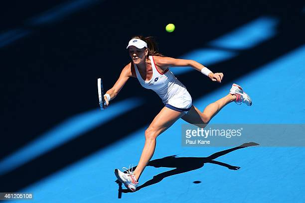 Agnieszka Radwanska of Poland plays a forehand in her singles match against Alize Cornet of France during day six of the 2015 Hopman Cup at Perth...