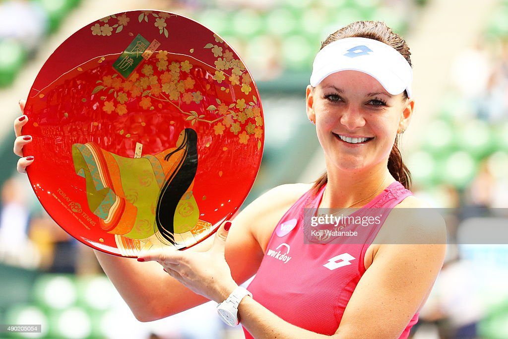Agnieszka Radwanska of Poland poses for a photograph after winning against Belinda Bencic of Switzerland during day 7 of women's single final the Toray Pan Pacific Open at Ariake Colosseum on September 27, 2015 in Tokyo, Japan.