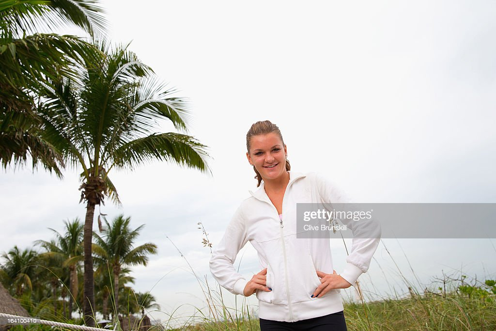 <a gi-track='captionPersonalityLinkClicked' href=/galleries/search?phrase=Agnieszka+Radwanska&family=editorial&specificpeople=579516 ng-click='$event.stopPropagation()'>Agnieszka Radwanska</a> of Poland poses for a photograph during a WTA all access hour at the Ritz Carlton Hotel on March 19, 2013 in Key Biscayne, Florida.