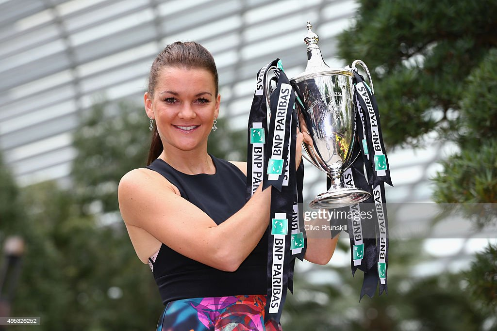 <a gi-track='captionPersonalityLinkClicked' href=/galleries/search?phrase=Agnieszka+Radwanska&family=editorial&specificpeople=579516 ng-click='$event.stopPropagation()'>Agnieszka Radwanska</a> of Poland poses with the Billie Jean King Trophy at the Gardens by the Bay on November 2, 2015 in Singapore.