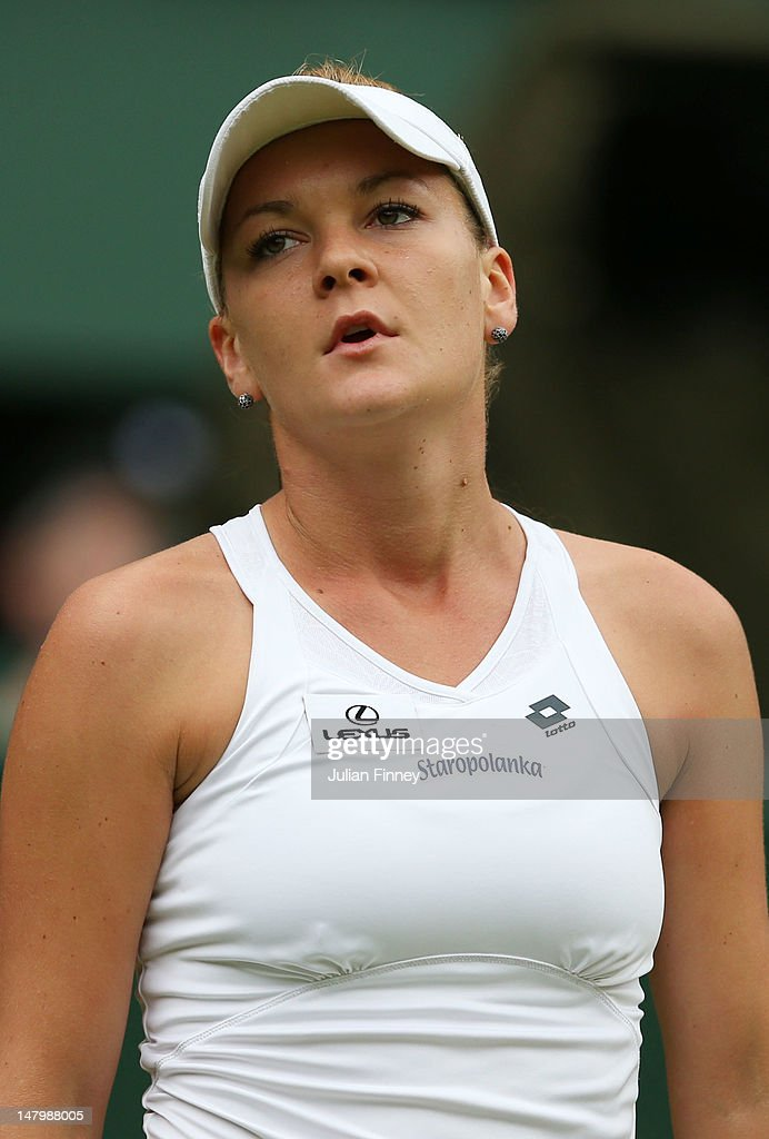 Agnieszka Radwanska of Poland reacts during her Ladies' Singles final match against Serena Williams of the USA on day twelve of the Wimbledon Lawn Tennis Championships at the All England Lawn Tennis and Croquet Club on July 7, 2012 in London, England.