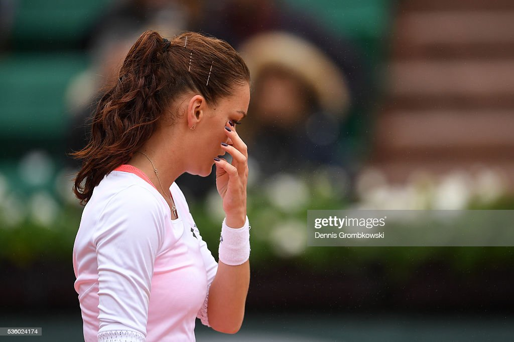 Agnieszka Radwanska of Poland reacts during the Ladies Singles fourth round match against Tsvetana Pironkova of Bulgaria on day ten of the 2016 French Open at Roland Garros on May 31, 2016 in Paris, France.