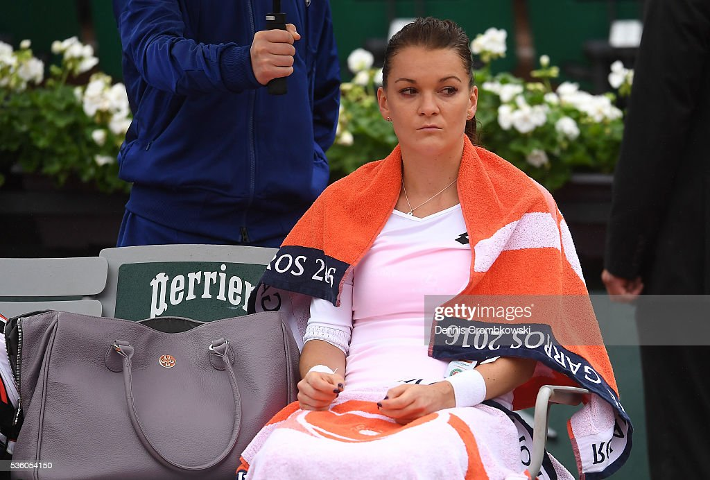 <a gi-track='captionPersonalityLinkClicked' href=/galleries/search?phrase=Agnieszka+Radwanska&family=editorial&specificpeople=579516 ng-click='$event.stopPropagation()'>Agnieszka Radwanska</a> of Poland reacts during the Ladies Singles fourth round match against Tsvetana Pironkova of Bulgaria on day ten of the 2016 French Open at Roland Garros on May 31, 2016 in Paris, France.