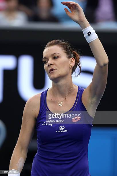 Agnieszka Radwanska of Poland reacts in her second round match against Mirjana LucicBaroni of Croatia on day four of the 2017 Australian Open at...