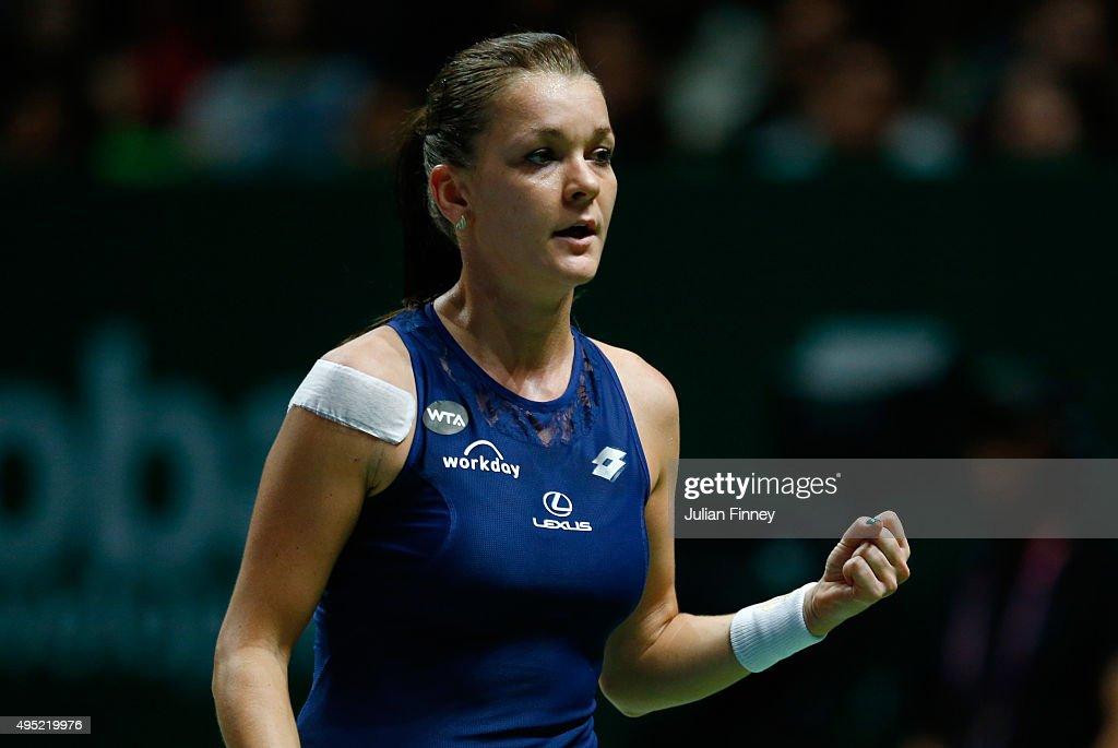 Agnieszka Radwanska of Poland reacts to a point during the final match against Petra Kvitova of Czech Republic during the BNP Paribas WTA Finals at...