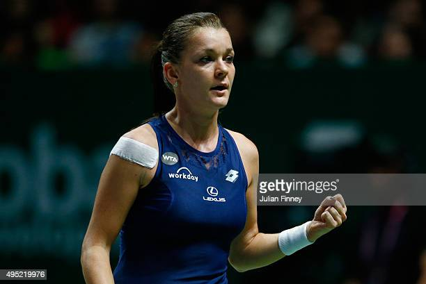 Agnieszka Radwanska of Poland reacts to a point during the final match against Petra Kvitova of Czech Republic during the BNP Paribas WTA Finals at...