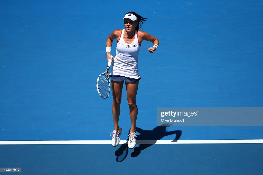 <a gi-track='captionPersonalityLinkClicked' href=/galleries/search?phrase=Agnieszka+Radwanska&family=editorial&specificpeople=579516 ng-click='$event.stopPropagation()'>Agnieszka Radwanska</a> of Poland reacts to a point in her third round match against Varvara Lepchenko of the United States during day six of the 2015 Australian Open at Melbourne Park on January 24, 2015 in Melbourne, Australia.