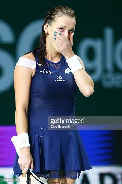 Agnieszka Radwanska of Poland reacts to match point during her finals match against Petra Kvitova of Czech Republic during the BNP Paribas WTA Finals...