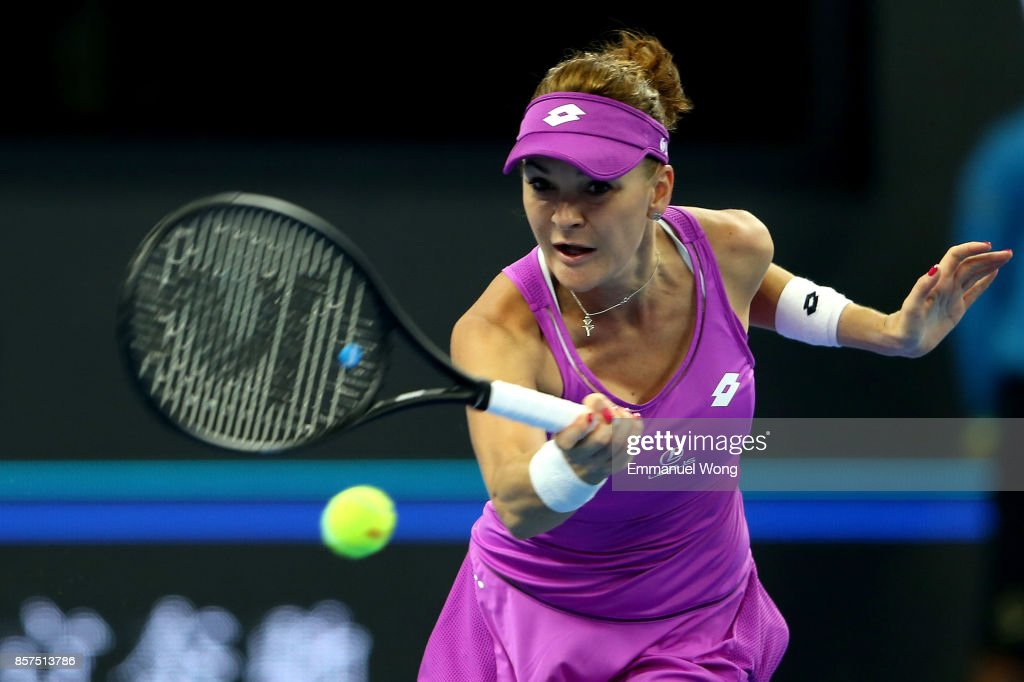 Agnieszka Radwanska of Poland returns a shot against Daria Kasatkina on day five of the 2017 China Open at the China National Tennis Centre on October 4, 2017 in Beijing, China.