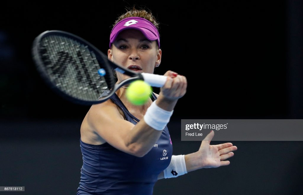 Agnieszka Radwanska of Poland returns a shot against Zhang shuai of china during the women's singles second round on day four of 2017 China Open at the China National Tennis Centre on October 3, 2017 in Beijing, China.