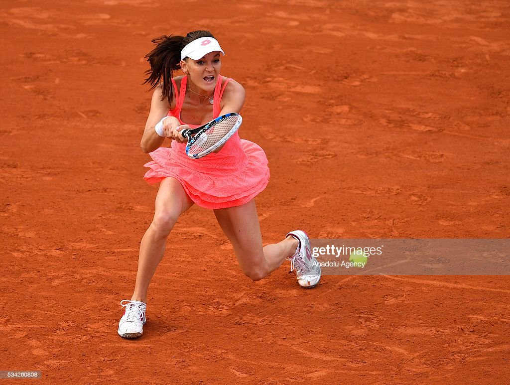Agnieszka Radwanska of Poland returns to Caroline Garcia (not seen) of France during their women's single second round at the French Open tennis tournament at Roland Garros in Paris, France on May 25, 2016.