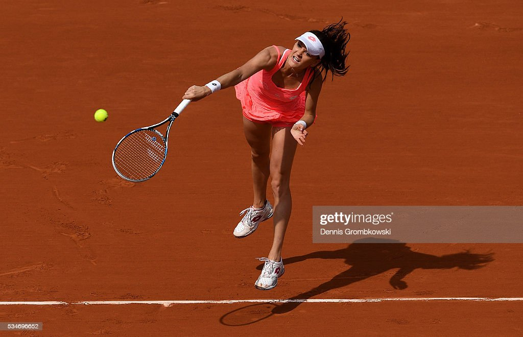 <a gi-track='captionPersonalityLinkClicked' href=/galleries/search?phrase=Agnieszka+Radwanska&family=editorial&specificpeople=579516 ng-click='$event.stopPropagation()'>Agnieszka Radwanska</a> of Poland serves during the Ladies Singles third round match against Barbora Strycova of Czech Republic on day six of the 2016 French Open at Roland Garros on May 27, 2016 in Paris, France.