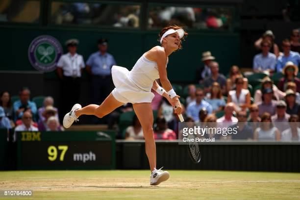 Agnieszka Radwanska of Poland serves during the Ladies Singles third round match against Timea Bacsinszky of Switzerland on day six of the Wimbledon...