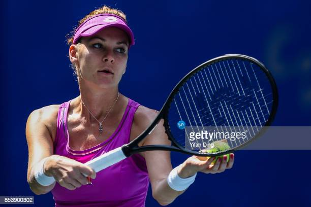 Agnieszka Radwanska of Poland serves during the second round Ladies Singles match against Julia Goerges of Germany on Day 3 of 2017 Dongfeng Motor...