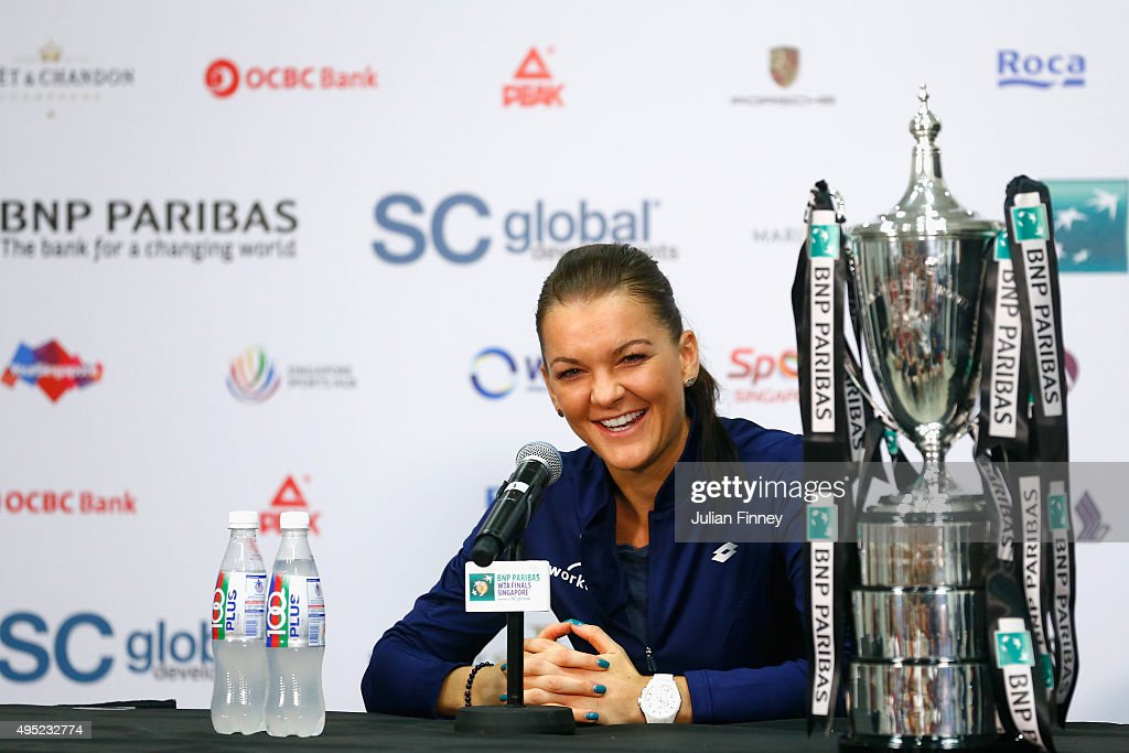 Agnieszka Radwanska of Poland speaks at a press conference after defeating Petra Kvitova of Czech Republic in the final match during the BNP Paribas...