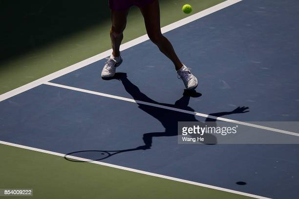 Agnieszka Redwanska of Poland returns a shot during the match against Julia Goerges Germany on Day 3 of 2017 Dongfeng Motor Wuhan Open at Optics...