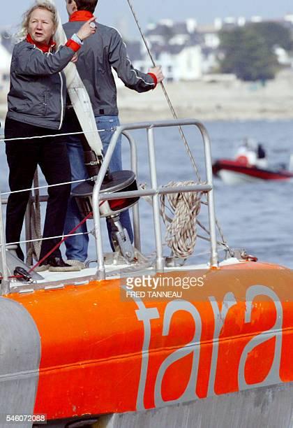 Agnès B styliste et mécène de Taraexpédition arrive dans le port de Lorient à bord du voilier polaire Tara le 23 février 2008 après 20 mois...