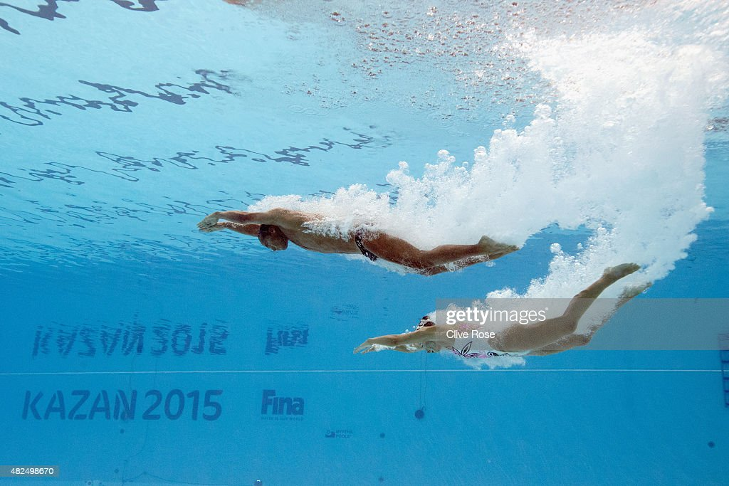 AGokce Akgun and Yagmur Demircan of Turkey compete in the Mixed Duet Free Synchronised Swimming Final on day six of the 16th FINA World Championships at the Kazan Arena on July 30, 2015 in Kazan, Russia.
