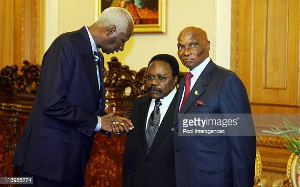 Agreement ceremony about the creation of a French Speaking House In Paris France On September 28 2006Abdou Diouf Omar Bongo and Abdulaye Wade