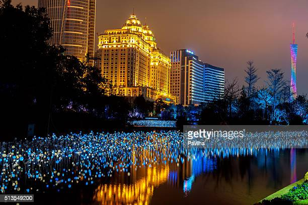 Agricultural Bank of China Building,night, light , Canton Tower,Guangzhou