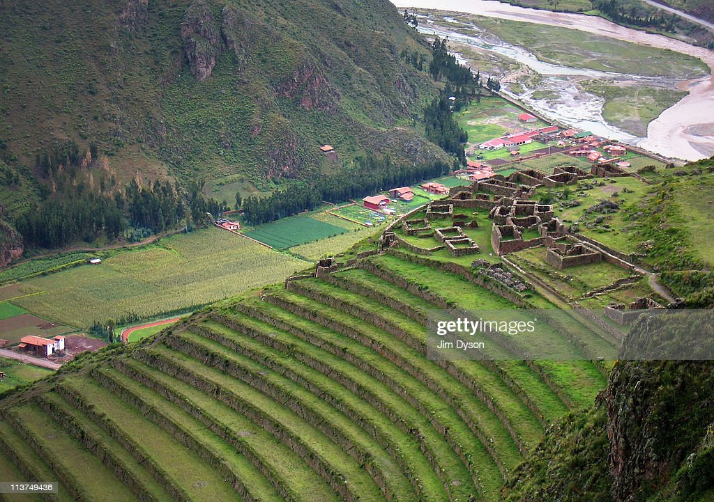Agricultural terraces and Inca ruins are pictured along the Sacred Valley of the Incas on March 16 2005 near Pisaq Peru The sacred valley was a major...