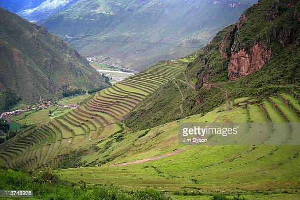Agricultural terraces are pictured along the Sacred Valley of the Incas on March 16 2005 near Pisaq Peru The sacred valley was a major settlement of...