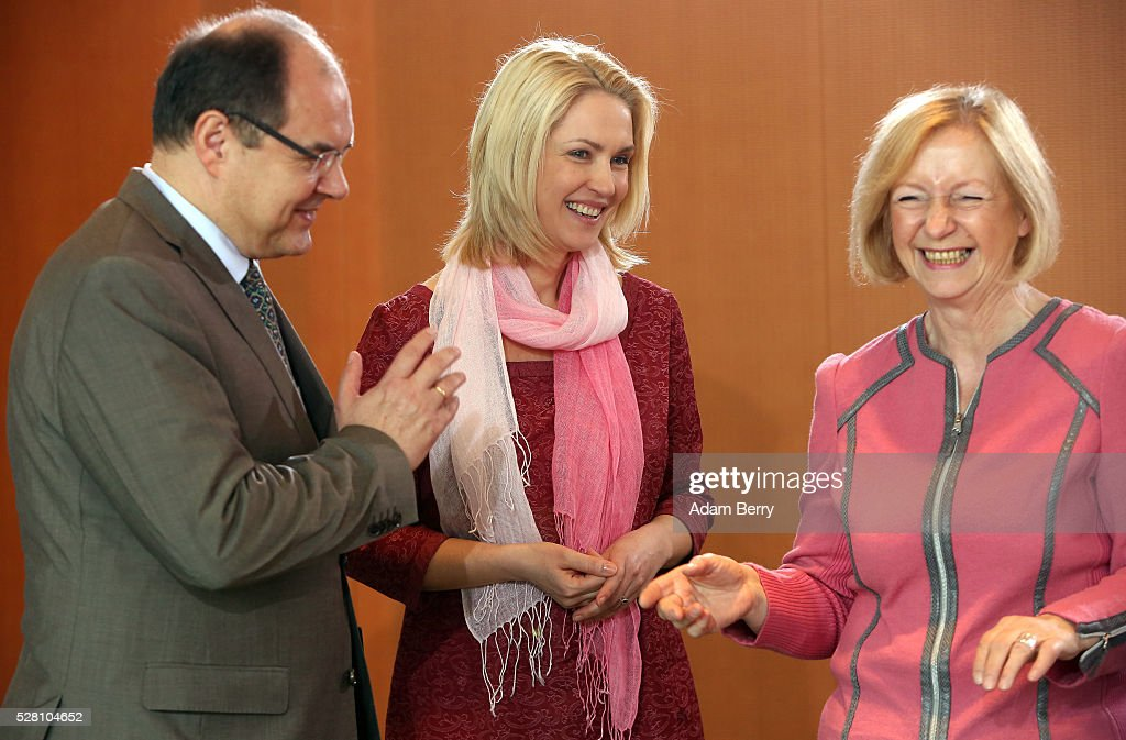 Agriculture and Consumer Protection Minister Christian Schmidt (CSU), Family Minister Manuela Schwesig (SPD), and Education Minister Johanna Wanka (CDU) arrive for the weekly German federal Cabinet meeting on May 4, 2016 in Berlin, Berlin. High on the meeting's agenda was discussion of laws pertaining to maternity leave.