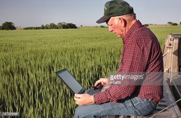 Agriculture: Farmer or rancher with Computer in a Wheat Field