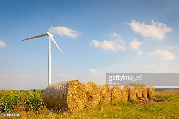 Agriculture Field Wind Park Turbine Hay Bales