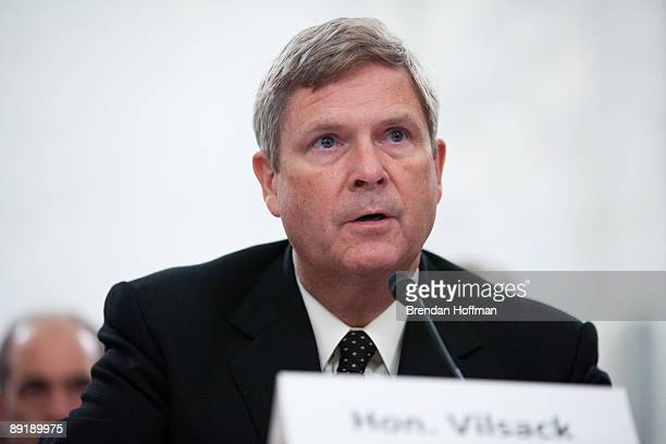 Agriculture Secretary Tom Vilsack testifies at a hearing on Capitol Hill July 22 2009 in Washington DC The hearing focused on the role of agriculture...