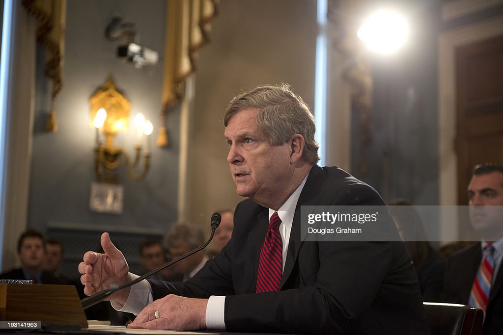 Agriculture Secretary Tom Vilsack testifies at the House Agriculture Committee on Tue, Mar. 05 in the Longworth House Office Building hearing on the state of the rural economy.