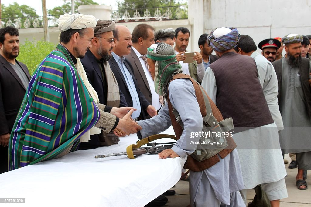 Agroup of Taliban members are seen as they surrender to the authorities in Cevizcan, Afghanistan on May 3, 2016. 17 Taliban members laid their arms down and surrendered.